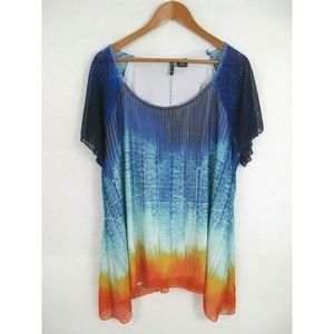 New-Directions Asymmetrical Open Stitch Tunic Top